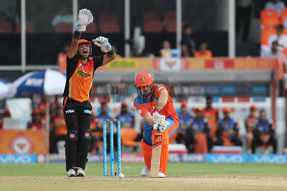 Naman Ojha of the Sunrisers Hyderabad appeals for the wicket of Aaron Finch of the Gujarat Lions during match 6 of the Vivo 2017 Indian Premier League between the Sunrisers Hyderabad and the Gujarat Lions held at the Rajiv Gandhi International Cricket Stadium in Hyderabad, India on the 9th April 2017<br /> <br /> Photo by Ron Gaunt - IPL - Sportzpics