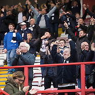Delighted Dundee fans at the end - Hamilton v Dundee in the Ladbrokes Scottish Premiership at Superseal stadium, Hamilton. Photo: David Young<br /> <br />  - &copy; David Young - www.davidyoungphoto.co.uk - email: davidyoungphoto@gmail.com