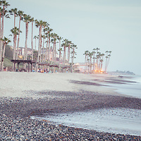 San Clemente CA beach retro panoramic photo. San Clemente is a popular coastal beach city along the Pacific Ocean in Orange County Southern California. Copyright ⓒ 2017 Paul Velgos with All Rights Reserved.