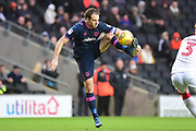 Portsmouth striker Brett Pitman (8) controls acrobatically during the EFL Sky Bet League 1 match between Milton Keynes Dons and Portsmouth at stadium:mk, Milton Keynes, England on 10 February 2018. Picture by Dennis Goodwin.