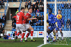 Bristol City's Matt Smith scores the opening goal of the game. - Photo mandatory by-line: Dougie Allward/JMP - Mobile: 07966 386802 - 28/12/2014 - SPORT - football - Gillingham - Priestfield Stadium - Bristol City v Gillingham - Sky Bet League One