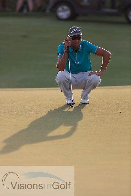 Rafael Cabrera Bello<br /> during the second round of the Race To Dubai DP World Tour Golf Championship, Dubai, UAE November  2013<br /> Picture Credit:  Mark Newcombe / www.visionsingolf.com