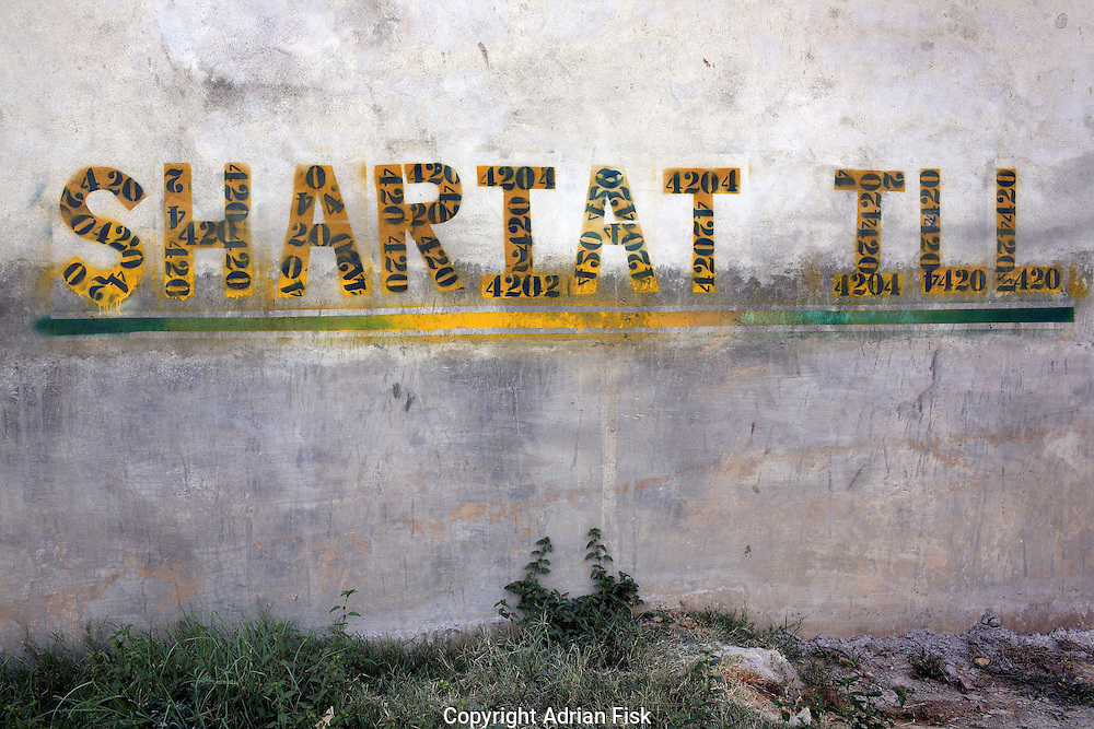 """Celebrated young pakistani artist Asim Butt on a journey of political graffiti through Pakistan during the summer of 2009..In the pakistani capital Islamabad a piece titled 'Shariat ill"""". The work puns on the Shariat bill which proposes to bring the legal and political system of Pakistan further in line with a narrow interpretation of Islamic law."""