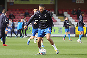 AFC Wimbledon defender Terell Thomas (6) warming up during the EFL Sky Bet League 1 match between AFC Wimbledon and Gillingham at the Cherry Red Records Stadium, Kingston, England on 23 March 2019.