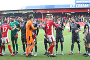 team introductions during the EFL Sky Bet League 2 match between Crewe Alexandra and Lincoln City at Alexandra Stadium, Crewe, England on 26 December 2018.