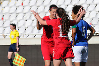 Fifa Womans World Cup Canada 2015 - Preview //<br /> Cyprus Cup 2015 Tournament ( Gsp Stadium Nicosia - Cyprus ) - <br /> Italy vs Canada 0-1   //  Allysha Chapman of Canada (15-Middle) , <br /> celebrates with team mates Christine Sinclair  , after his Goal (0-1)