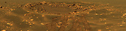 This view in approximately true colour reveals details in an impact crater informally named 'Fram' in the Meridian Planum region of Mars. The picture is a mosaic of frames taken by the panoramic camera on NASA's Mars Exploration Rover Opportunity during the rover's 88th Martian day on Mars, on April 23, 2004. The crater spans about 8 meters (26 feet) in diameter. Opportunity paused beside it while traveling from the rover's landing site toward a larger crater farther east. This view combines images taken using three of the camera's filters for different wavelengths of light: 750 nanometres, 530 nanometres and 430 nanometres