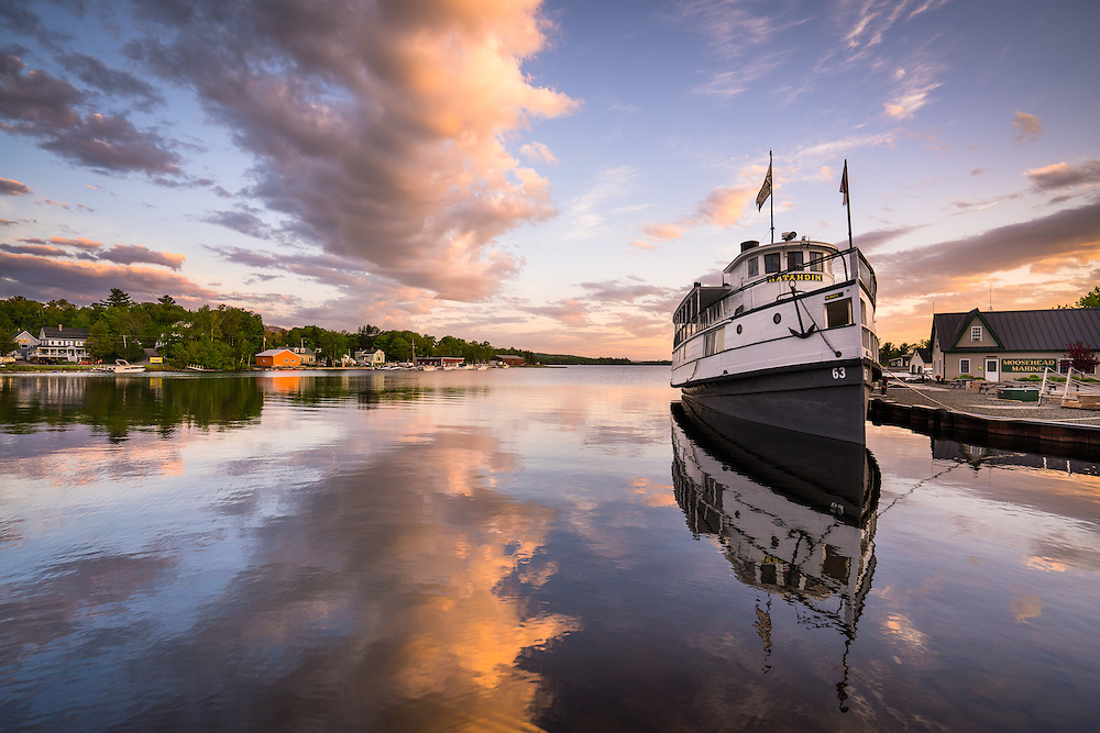 Built in 1914 at Bath Iron Works, the steamboat Katahdin plies the waters of Moosehead Lake to this day. It is berthed in East Cove on the Greenville waterfront, and runs cruises all the way to Mount Kineo.
