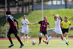 Anna Pilipenko of FC Minsk and Mia Kalasic of ZNK Olimpija Ljubljana during football match between FC Minsk and ZNK Olimpija Ljubljana in 2nd Qualifying Group of UEFA Women's Champions League 2018/19, on August 7, 2018 in Stadion ZAK, Ljubljana, Slovenia. Photo by Urban Urbanc / Sportida