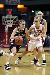 13 January 2007: Roxanne Stiles drives past the 3 point arc with Maggie Krick at her side defending. The Missouri State Bears lost to the Redbirds of Illinois State University at Redbird Arena in Normal Illinois by a score of 76-47.<br />