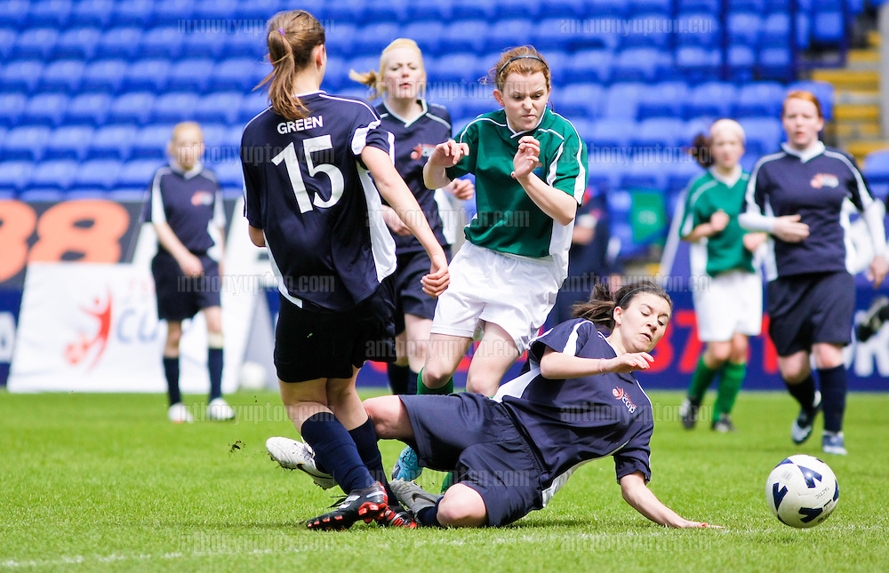 20100516                 Copyright image 2010©.Sion Swifts U16 v Hibs Girls U16.Tesco Football Cup Final at the Reebok Stadium in Bolton .Mandatory Credit Ant Upton otherwise additional charges will apply..For photographic enquiries please call Anthony Upton 07973 830 517 or email info@anthonyupton.com .This image is copyright Anthony Upton 2010©..This image has been supplied by Anthony Upton and must be credited Anthony Upton. The author is asserting his full Moral rights in relation to the publication of this image. All rights reserved. Rights for onward transmission of any image or file is not granted or implied. Changing or deleting Copyright information is illegal as specified in the Copyright, Design and Patents Act 1988. If you are in any way unsure of your right to publish this image please contact Anthony Upton on +44(0)7973 830 517 or email: