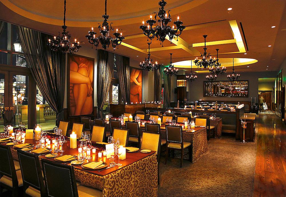 Candlelit  interior restaurant , Morels steakhouse .
