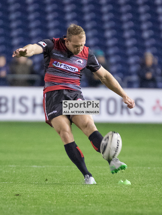 Edinburgh #15 Greig Tonks kicks the first penalty of the match. Edinburgh Rugby v Ulster Rugby, 16th October 2015