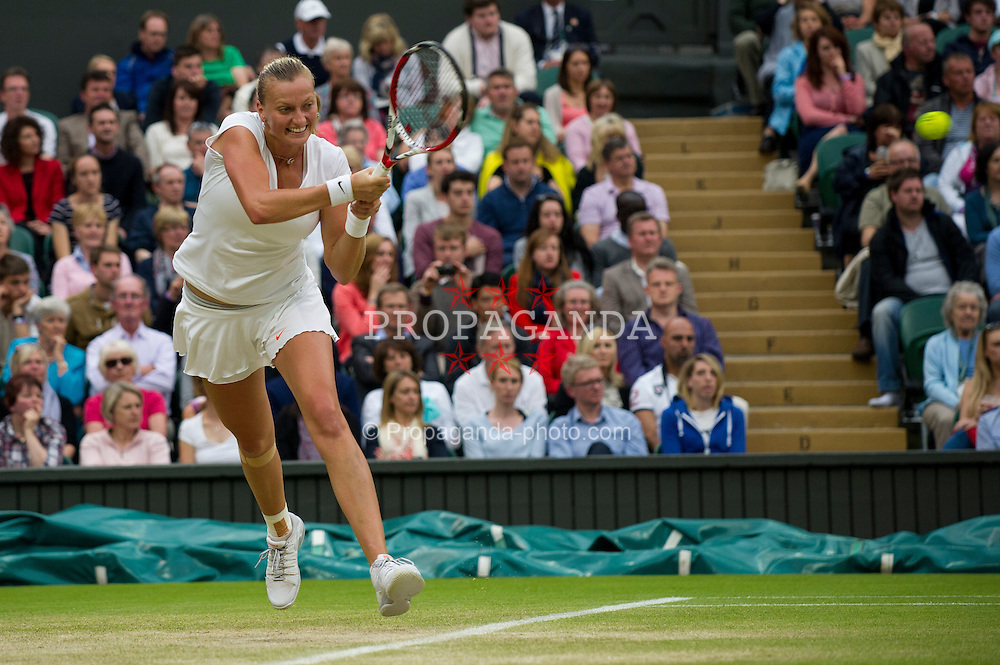 LONDON, ENGLAND - Tuesday, July 2, 2013: Petra Kvitova (CZE) during the Ladies' Singles Quarter-Final match on day eight of the Wimbledon Lawn Tennis Championships at the All England Lawn Tennis and Croquet Club. (Pic by David Rawcliffe/Propaganda)