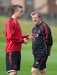 LIVERPOOL, ENGLAND - Wednesday, August 18, 2010: Liverpool's manager Roy Hodgson and Danny Wilson during a training session at Melwood ahead of the UEFA Europa League Play-Off 1st Leg match against Trabzonspor A.S. (Pic by: David Rawcliffe/Propaganda)