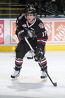 KELOWNA, CANADA - FEBRUARY 18: Chad Robinson #17 of the Red Deer Rebels looks for the pass as the Red Deer Rebels visit the Kelowna Rockets on February 18, 2012 at Prospera Place in Kelowna, British Columbia, Canada (Photo by Marissa Baecker/Shoot the Breeze) *** Local Caption ***