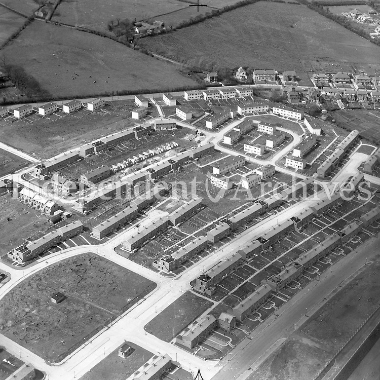 A56 Belfast.   (N.D.) (Part of the Independent Newspapers Ireland/NLI collection.)<br /> <br /> <br /> These aerial views of Ireland from the Morgan Collection were taken during the mid-1950's, comprising medium and low altitude black-and-white birds-eye views of places and events, many of which were commissioned by clients. From 1951 to 1958 a different aerial picture was published each Friday in the Irish Independent in a series called, 'Views from the Air'.<br /> The photographer was Alexander 'Monkey' Campbell Morgan (1919-1958). Born in London and part of the Royal Artillery Air Corps, on leaving the army he started Aerophotos in Ireland. He was killed when, on business, his plane crashed flying from Shannon.