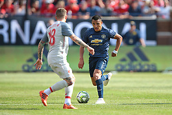 July 28, 2018 - Ann Arbor, Michigan, United States - Forward Alexis Sanchez (7) of Manchester United FC carries the ball up the field under the pressure of left back Alberto Moreno (18) of Liverpool during an International Champions Cup match between Manchester United and Liverpool at Michigan Stadium in Ann Arbor, Michigan USA, on Wednesday, July 28,  2018. (Credit Image: © Amy Lemus/NurPhoto via ZUMA Press)