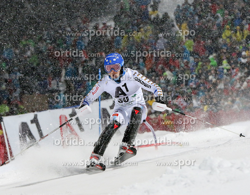 27.01.2015, Planai, Schladming, AUT, FIS Weltcup Ski Alpin, Nightrace, Slalom, Herren, 1. Durchgang, im Bild Calle Lindh (SWE) // Calle Lindh of Sweden in action during 1st run of mens slalom of the Schladming FIS Ski Alpine World Cup at the Planai course in Schladming, Austria on 2015/01/27. EXPA Pictures © 2015, PhotoCredit: EXPA/ Martin Huber
