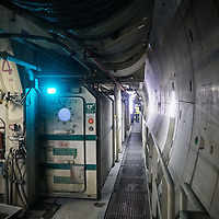 Saint-Martin-La-Porte (Francia) 8 agosto 2018:  cantieri della sezione transfrontaliera della linea Tav Torino-Lione la fresa Federica ha superato il 50% dello scavo dei primi 9 km del tunnel di base del Moncenisio