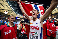 August 10, 2018 - Berlin, GERMANY - 180810 Jakob Ingebrigtsen of Norway celebrates after the 1500 meter final during the European Athletics Championships on August 10, 2018 in Berlin..Photo: Vegard Wivestad GrÂ¿tt / BILDBYRN / kod VG / 170201 (Credit Image: © Vegard Wivestad Gr¯Tt/Bildbyran via ZUMA Press)
