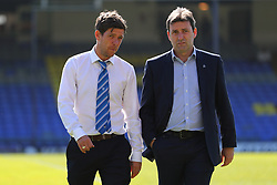 Bristol Rovers manager Darrell Clarke with newly appointed head of recruitment Tommy Widdrington on the pitch ahead of the match  - Mandatory by-line: Richard Calver/JMP - 05/05/2018 - FOOTBALL - Roots Hall - Southend-on-Sea, England - Southend United v Bristol Rovers - Sky Bet League One