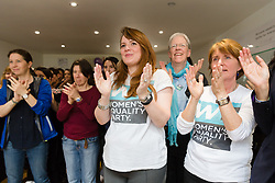 © Licensed to London News Pictures. 12/05/2017. LONDON, UK.  Supporters cheer as SOPHIE WALKER, the leader of the Women's Equality Party speaks at the launch of the party's general election manifesto at party headquarters in London.  Photo credit: Vickie Flores/LNP