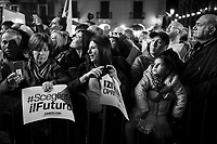 CATANIA, ITALY - 28 OCTOBER 2017: Supporters of the  Five Star Movement (Italian: Movimento 5 Stelle, or M5S) candidate Giancarlo Cancelleri, running for governor of Sicily in the upcoming Sicilan regional election, wait for his arrival during a rally in Catania, Italy, on October 28th 2017. <br /> <br /> The Sicilian regional election for the renewal of the Sicilian Regional Assembly and the election of the President of Sicily will be held on 5th November 2017.
