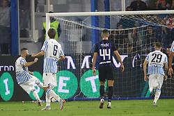 """Foto Filippo Rubin<br /> 07/10/2018 Ferrara (Italia)<br /> Sport Calcio<br /> Spal - Inter - Campionato di calcio Serie A 2018/2019 - Stadio """"Paolo Mazza""""<br /> Nella foto: RIGORE SBAGLIATO DA MIRCO ANTENUCCI (SPAL)<br /> <br /> Photo Filippo Rubin<br /> October 07, 2018 Ferrara (Italy)<br /> Sport Soccer<br /> Spal vs Inter - Italian Football Championship League A 2018/2019 - """"Paolo Mazza"""" Stadium <br /> In the pic: SPAL PENALTY MIRCO ANTENUCCI (SPAL)"""