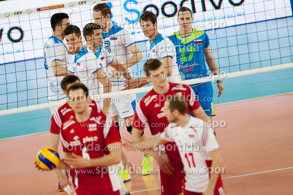 Players of team Slovenia during volleyball match between National teams of Slovenia and Poland in 4th Qualification game of CEV European Championship 2015 on May 23, 2014 in Arena Stozice, Ljubljana, Slovenia. Photo by Urban Urbanc / Sportida