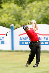 June 22, 2018 - Madison, WI, U.S. - MADISON, WI - JUNE 22:Scott Parel tees off on the eighteenth tee during the American Family Insurance Championship Champions Tour golf tournament on June 22, 2018 at University Ridge Golf Course in Madison, WI. (Photo by Lawrence Iles/Icon Sportswire) (Credit Image: © Lawrence Iles/Icon SMI via ZUMA Press)