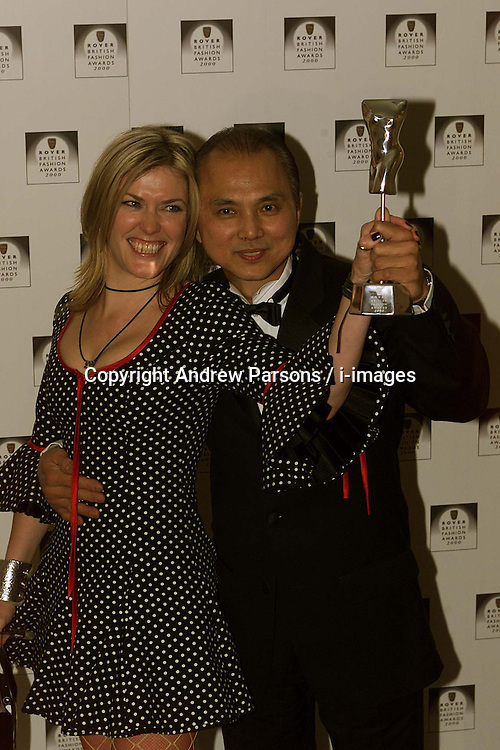 Rover British National Awards 2000, to close London Fashion Week, Natural History Museum ...ACCESSORY DESIGNER JIMMY CHOO WITH CERYS MATTHEW'S, February 18, 2000. Photo by Andrew Parsons / i-images..