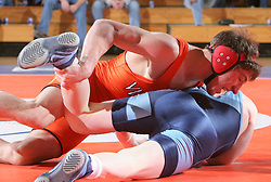 Drew DiPasquale takes on UNC's Isaih Britton in the 149lb match.  DiPasquale won 7-3, as UVA beat Carolina 27-10.