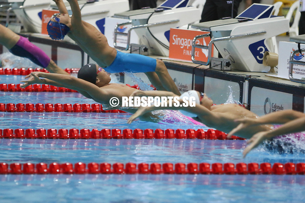Mikkel Lee starting his 100m backstroke event. He finished first in the 13-14 age group with a timing of 1:02.53. (Photo © Chua Kai Yun/Red Sports)
