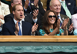 Image licensed to i-Images Picture Agency. 06/07/2014. London, United Kingdom. Duke and Duchess of Cambridge in the Royal Box  at the Wimbledon Men's Final.  Picture by i-Images