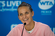 Karolina Pliskova of the Czech Republic talks to the media after winning her semi-final match at the 2020 Brisbane International WTA Premier tennis tournament against Naomi Osaka of Japan - Photo Rob Prange / Spain ProSportsImages / DPPI / ProSportsImages / DPPI