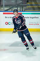 KELOWNA, BC - FEBRUARY 12: Samuel Huo #12 of the Tri-City Americans warms up on the ice against the Kelowna Rockets at Prospera Place on February 8, 2020 in Kelowna, Canada. (Photo by Marissa Baecker/Shoot the Breeze)
