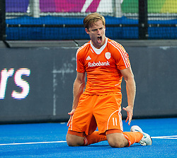 The Netherlands Jeroen Hertzberger celebrates scoring their third goal. The Netherlands v Germany - Final Unibet EuroHockey Championships, Lee Valley Hockey & Tennis Centre, London, UK on 29 August 2015. Photo: Simon Parker
