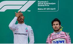 April 29, 2018 - Baku, Azerbaijan - Lewis Hamilton and Sergio Perez on the podium during the award ceremony at Azerbaijan Formula 1 Grand Prix on Apr 29, 2018 in Baku, Azerbaijan. (Credit Image: © Robert Szaniszlo/NurPhoto via ZUMA Press)
