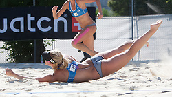 Simona Fabjan of Slovenia flying at A1 Beach Volleyball Grand Slam presented by ERGO tournament of Swatch FIVB World Tour 2012, on July 18, 2012 in Klagenfurt, Austria. (Photo by Matic Klansek Velej / Sportida)