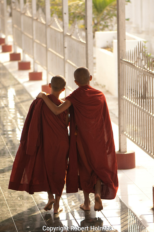 Monks at Kuthadaw Pay in Mandolay, Burma