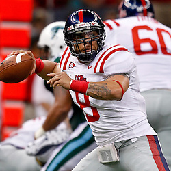 Sep 11, 2010; New Orleans, LA, USA; Mississippi Rebels quarterback Jeremiah Masoli (8) during a game against the Tulane Green Wave at the Louisiana Superdome. The Mississippi Rebels defeated the Tulane Green Wave 27-13.  Mandatory Credit: Derick E. Hingle