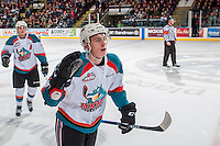 KELOWNA, CANADA - FEBRUARY 18: Nolan Foote #29 of the Kelowna Rockets skates to the bench to celebrate a goal against the Prince George Cougars on February 18, 2017 at Prospera Place in Kelowna, British Columbia, Canada.  (Photo by Marissa Baecker/Shoot the Breeze)  *** Local Caption ***