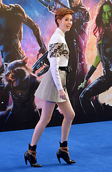 Image ©Licensed to i-Images Picture Agency. 24/07/2014. London, United Kingdom. <br /> <br /> Pictured is actress Karen Gillan arriving.<br /> <br /> Guardian's of the Galaxy film premiere at Leicester Square, London, UK.<br /> <br /> Picture by Ben Stevens / i-Images