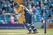 Stephen Cook (Durham CCC) fires the ball to the boundary during the Royal London 1 Day Cup match between Yorkshire County Cricket Club and Durham County Cricket Club at Headingley Stadium, Headingley, United Kingdom on 3 May 2017. Photo by Mark P Doherty.