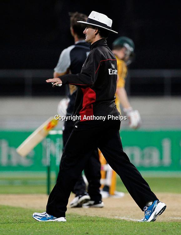 Umpire Billy Bowden New Zealand v Australia Twenty20 cricket match. Westpac Stadium, Wellington. Friday 26 February 2010. Photo: Anthony Phelps/PHOTOSPORT
