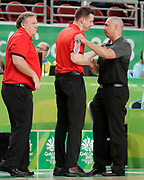 14th April 2018, Gold Coast Convention and Exhibition Centre, Gold Coast, Australia; Commonwealth Games day 10, Basketball, Mens semi final, New Zealand versus Canada; New Zealand coach Paul Henare congratulates Kirby Schepp coach of Canada after Canada won their Semifinal by two points