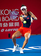 Wang Qiang (pictured) of China in action against Elina Svitolina of the Ukraine in the quarter finals of the  Hong Kong Tennis Open in Victoria Park Hong Kong.