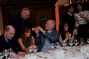 ALAIN DE BOTTON; JAMES FOX; JEMIMA KHAN; JOHN MALKOVICH; HELENA BONHAM CARTER; MATTHEW FREUD; BELLA FREUD, Freud Museum dinner, Maresfield Gardens. 16 June 2011. <br /> <br />  , -DO NOT ARCHIVE-© Copyright Photograph by Dafydd Jones. 248 Clapham Rd. London SW9 0PZ. Tel 0207 820 0771. www.dafjones.com.
