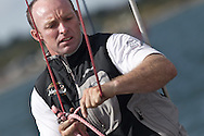 ENGLAND, Cowes. 10th August 2011. Training with Abu Dhabi Ocean Racing. Justin Slattery, Bowman, Volvo 70, Azzam. Abu Dhabi Volvo Ocean Race Team.